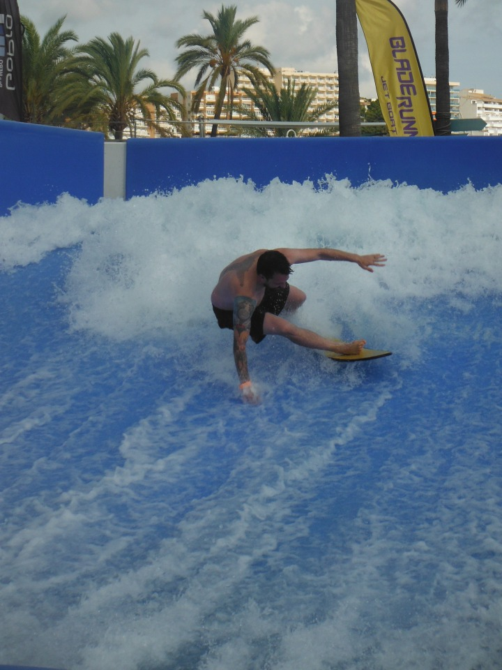Wiping out on the flowrider in Magaluf