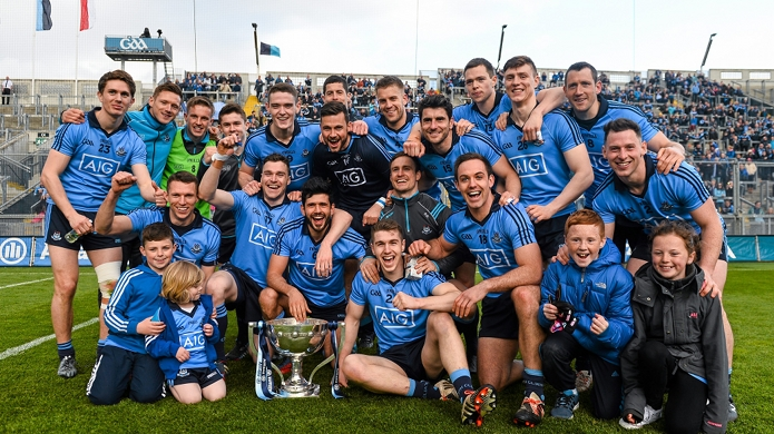 26 April 2015; The Dublin squad celebrate following their side's victory. Allianz Football League, Division 1, Final, Dublin v Cork. Croke Park, Dublin. Picture credit: Ramsey Cardy / SPORTSFILE